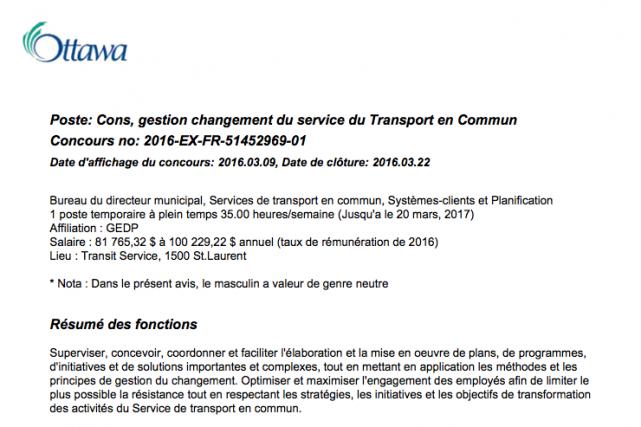 L'offre d'emploi en français pour un poste de... (Saisie d'écran, ottawa.ca)