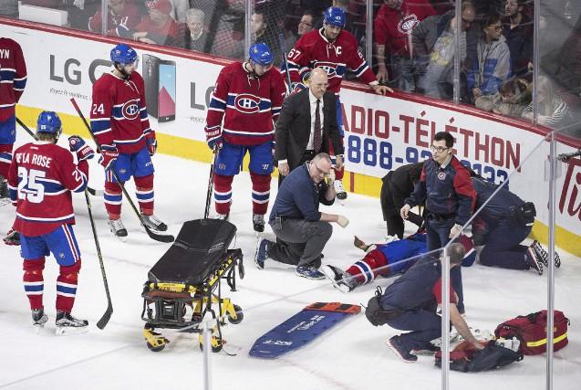 P.K. Subban s'est blessé au cou vers la... (La Presse Canadienne, Graham Hughes)