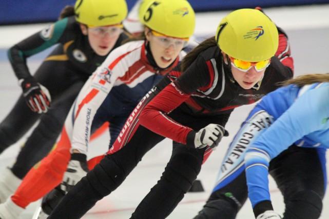 Florence Brunelle (5) fait partie des patineurs ayant... (Fédération de patinage de vitesse du Québec)