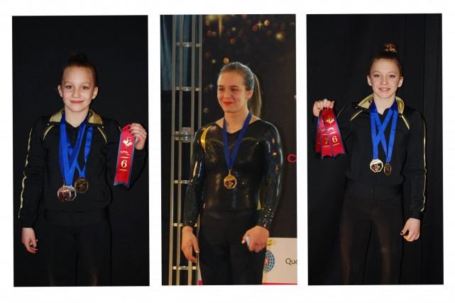 Les gymnastes Anne Cyr, Jade Boulianne et Maria... (Photos courtoisie)