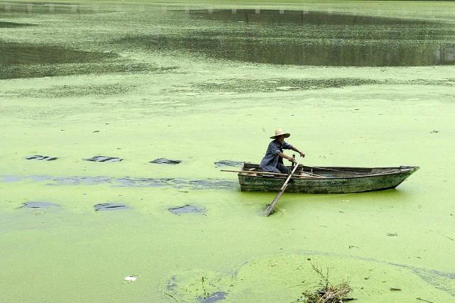 Un homme pagaie sur une rivière polluée en... (Photo Sean Yong, archives Reuters)