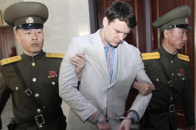 La condamnation d'Otto Warmbier, 21 ans, étudiant à... (AP, Jon Chol Jin)