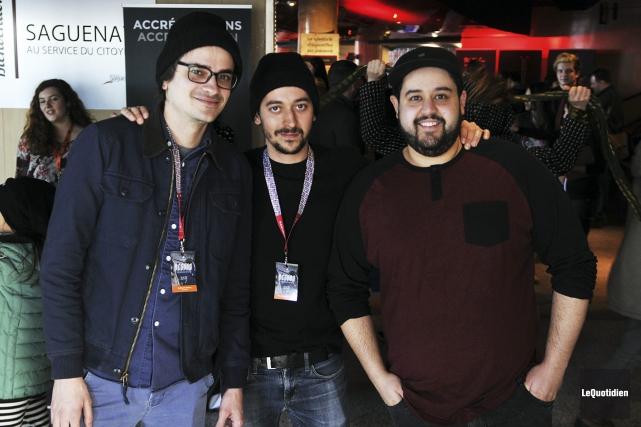 Les cinéastes Guyillaume Harvey (Une bombe) Pierre Alexandre... (Photo Le Quotidien, Rocket Lavoie)