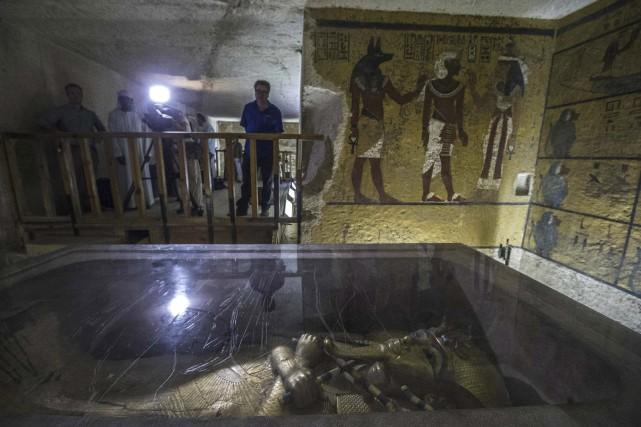 Le sarcophage deToutankhamon dans la Vallée des rois.... (AFP, Khaled Desouki)