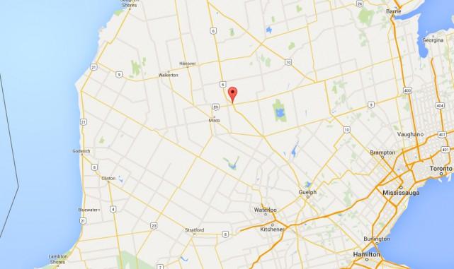 Environnement Canada a révélé que la première tornade de l'année en sol... (IMAGE TIRÉE DE GOOGLE MAPS)