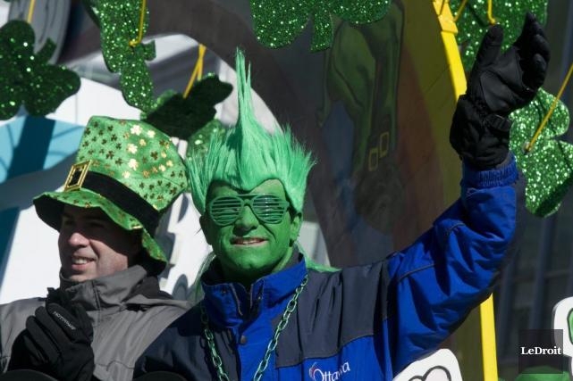 La fierté irlandaise s'est affichée dans toute sa couleur -le vert, bien... (Martin Roy, LeDroit)