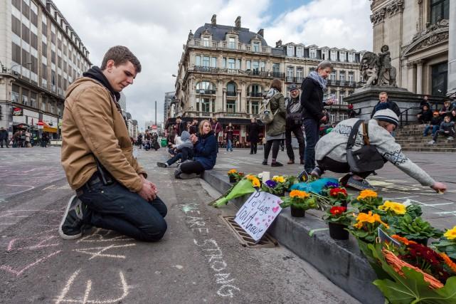 À la suite des terribles attentats survenus mardi matin à Bruxelles, la Ville... (Photo AP)