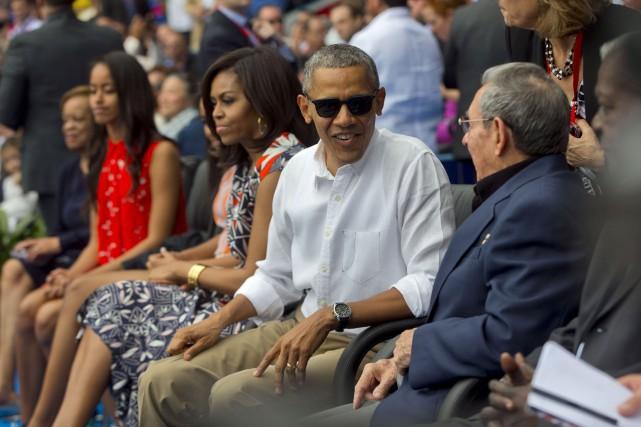Le président américain, Barack Obama, la Première dame... (AFP, Nicholas Kamm)