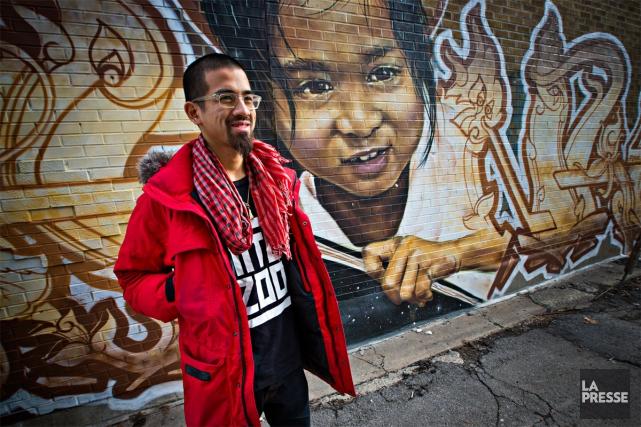 Star montante de l'art urbain montréalais, FONKi est en vedette sur le site de... (PHOTO PATRICK SANFAÇON, LA PRESSE)