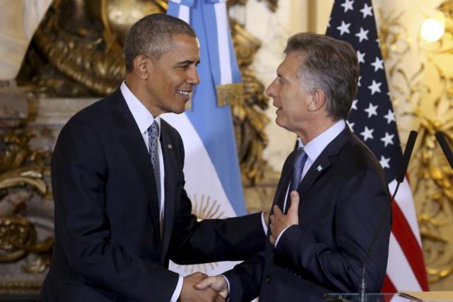 Barack Obama et Mauricio Macri... (Martin Zabala, AP)