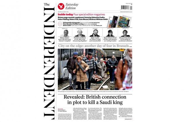 La dernière Une du quotidien The Independent, samedi.... (Photo tirée de Twitter)