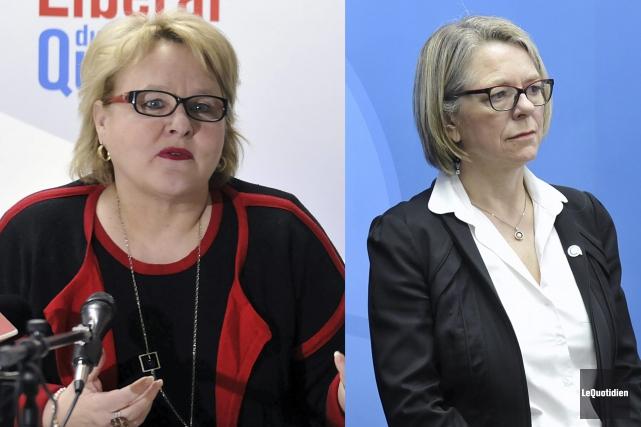 Francyne T. Gobeil, du Parti libéral, et Mireille... (Photos Le Quotidien, Rocket Lavoie)