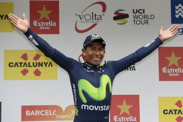 Nairo Quintanaa défendu avec succès son avance de... (PHOTO JOSEP LAGO, AFP)