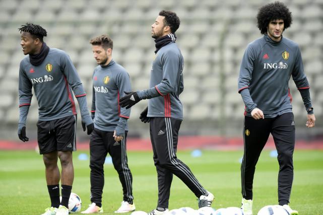 Les joueurs de l'équipe nationale de soccer belge... (Photo Nico Vereecken, AFP)