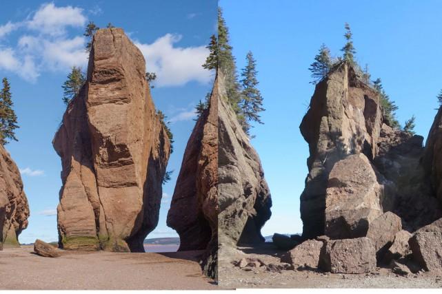 Le rocher, avant et après la chute des... (PHOTOS LA PRESSE CANADIENNE)