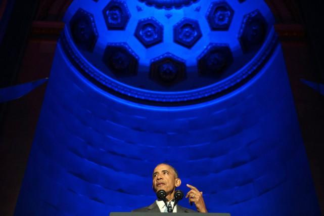Le président américain, qui s'exprimait lors d'une cérémonie... (PHOTO NICHOLAS KAMM, AFP)