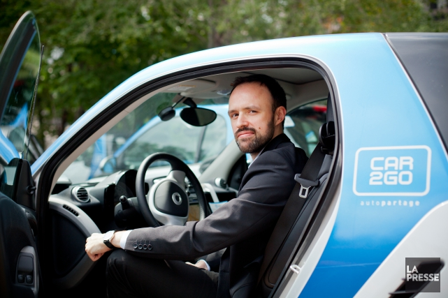 Jérémi Lavoie (photo), de Car2Go, et Jean-Nicolas Guillemette,... (photo sarah mongeau-birkett, archives la presse)