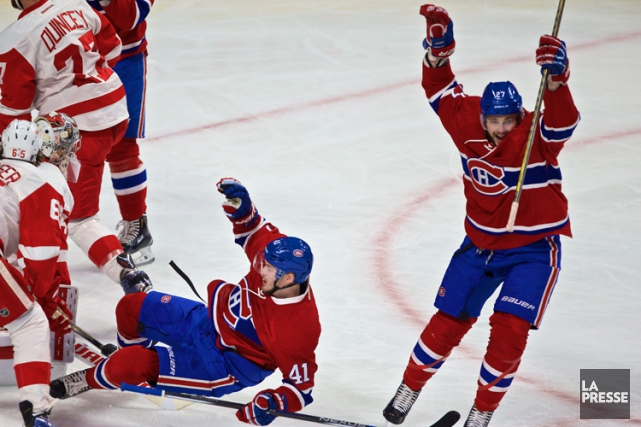 Alex Galchenyuk célèbre le but de Paul Byron en... (PHOTO ANDRÉ PICHETTE, LA PRESSE)