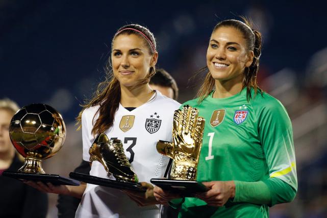 Alex Morgan et Hope Solo, deux des joueuses... (Photo Rhona Wise, AFP)