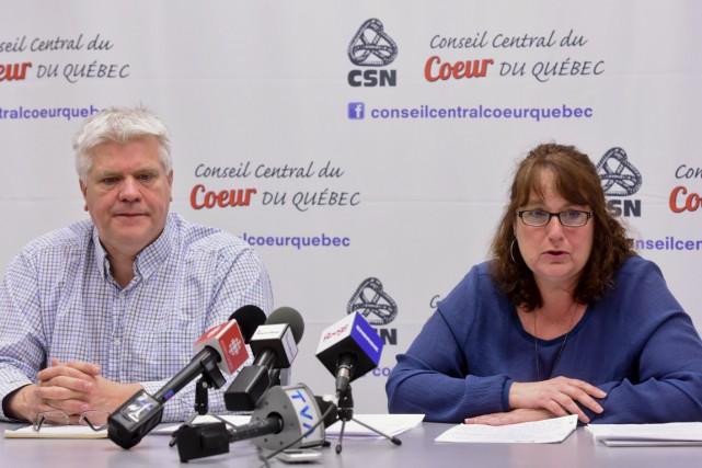 Claude Audy, vice-président de la FSSS-CSN, et Manon... (François Gervais)