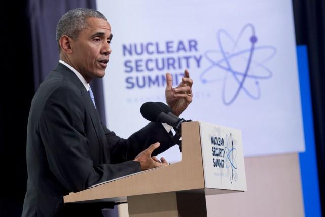 Le président Obama durant la conférence de presse... (Photo SAUL LOEB, AFP)