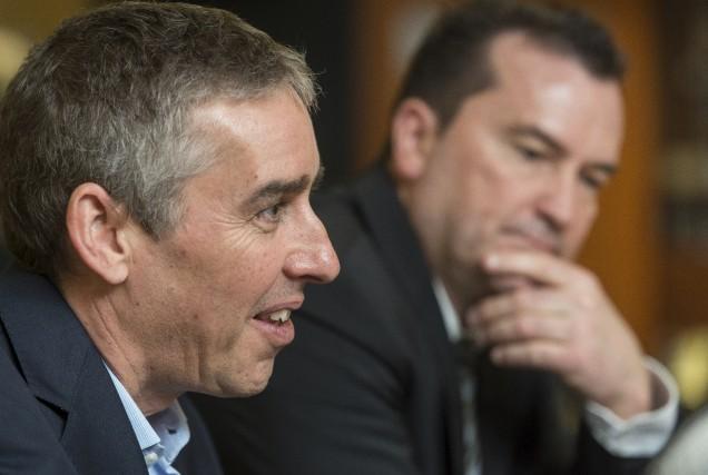 Les députés du Parti québécois Nicolas Marceau et... (Spectre Média, Frédéric Côté)
