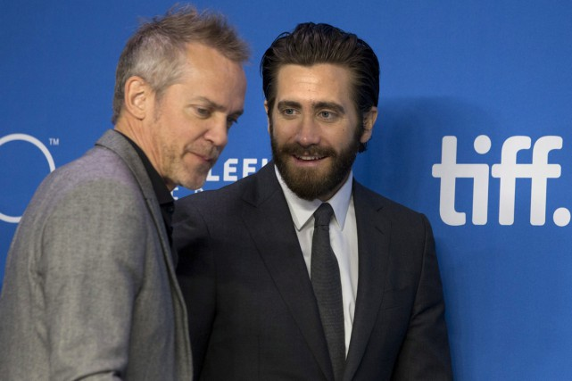 Jean-Marc Vallée et Jake Gyllenhaal lors de la... (PHOTO ARCHIVES LA PRESSE CANADIENNE)