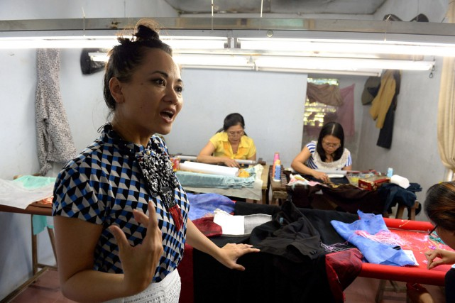La fondatrice de Fashion4Freedom, LanVy Nguyen, est revenue... (PHOTO HOANG DINH NAM, AFP)