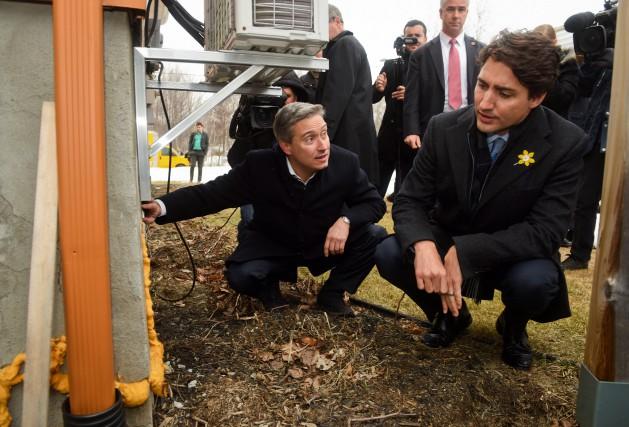 Le premier ministre Justin Trudeau était accompagné du... (François Gervais)