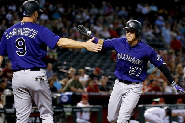 Trevor Story (27), des Rockies, est devenu le... (Associated Press)