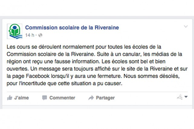 La Commission scolaire de la Riveraine a été... (Facebook)