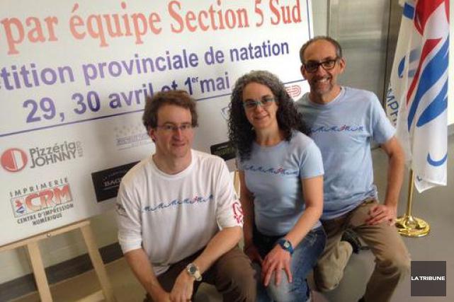 Les entraîneurs Daniel Soucy et Amélie Roy, et... (La Tribune, Jean-Guy Rancourt)