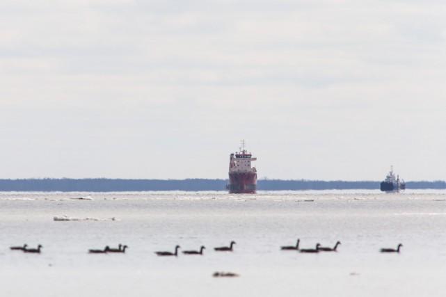 Un cargo échoué sur le lac Saint-Pierre a... (Olivier Croteau)