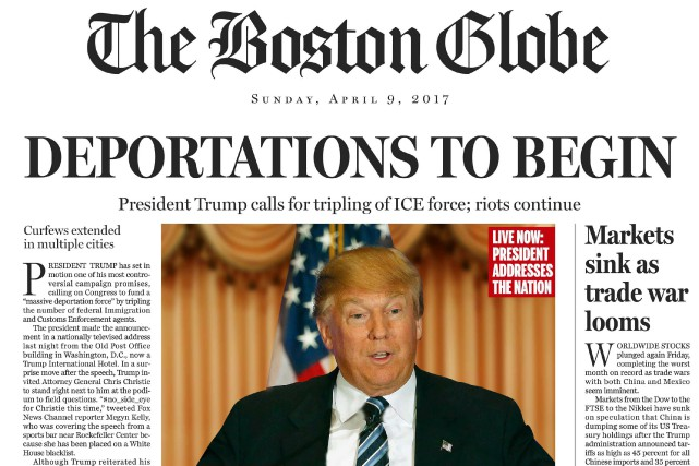 Dans sa fausse Une datée du 9 avril... (Associated Press)
