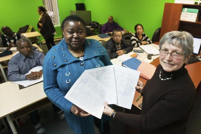 Apprenantes au CEP de l'Estrie, Christine Difuni et... (Spectre Média, Jessica Garneau)