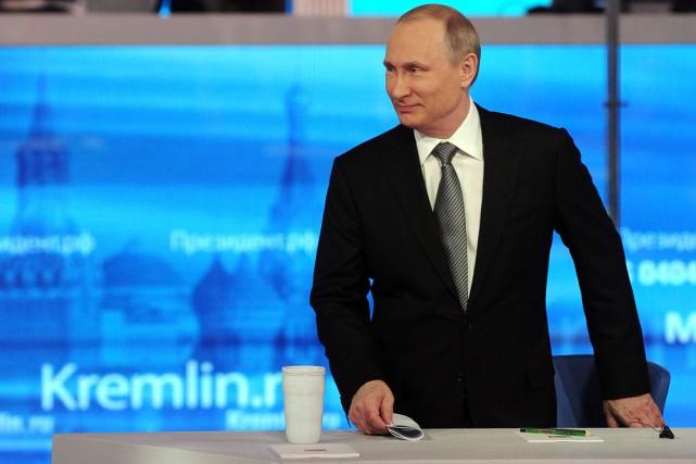 Au cours d'une interview-marathon dans laquelle il répond... (PHOTO MIKHAIL KLIMENTYEV, SPUTNIK/AP)