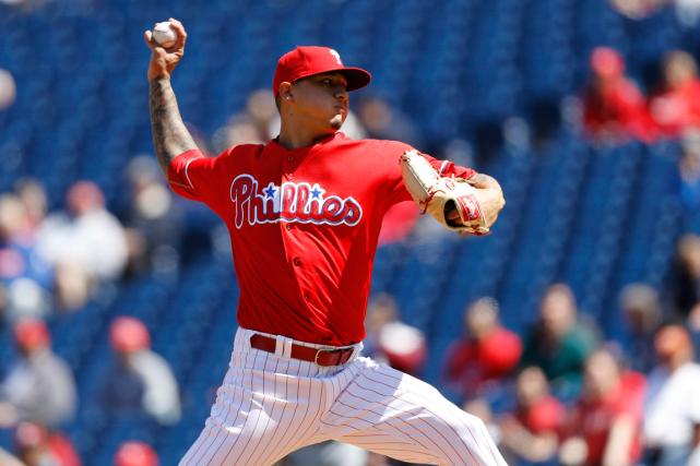 Le jeune lanceur des Phillies Vince Velasqueza dominé... (Photo Matt Slocum, AP)