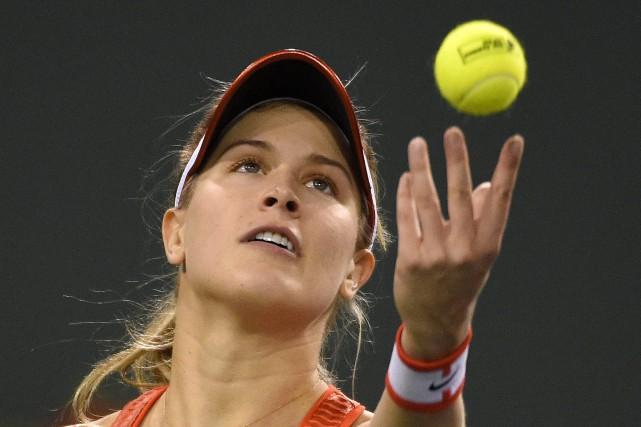 Eugenie Bouchard en pleine action au tournoi d'Indian... (PHOTO MARK J. TERRIL, ARCHIVES ASSOCIATED PRESS)