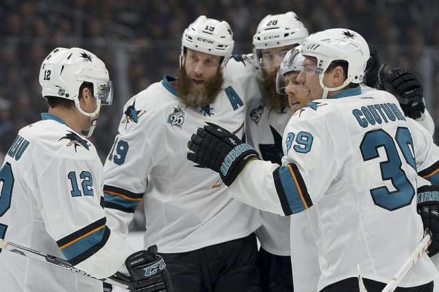 De gauche à droite: Patrick Marleau, Joe Thornton,... (PHOTO JAYNE KAMIN-ONCEA, USA TODAY)