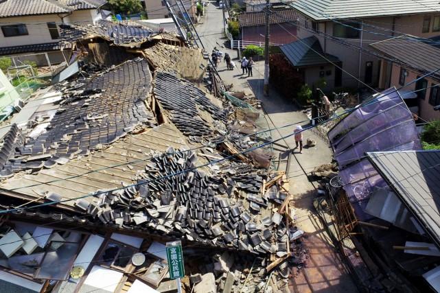 Ce nouveau puissant séisme survient au lendemain d'une... (PHOTO KOJI HARADA, KYODO NEWS/AP)