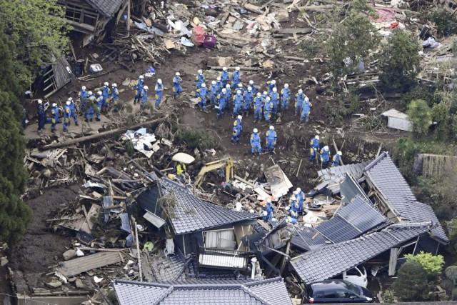 La région de Kumamoto, sur l'île de Kyushu,... (Photo Kyodo News via AP)