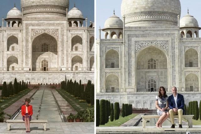 Kate et William ont posé devant le Taj... (AP Photo)