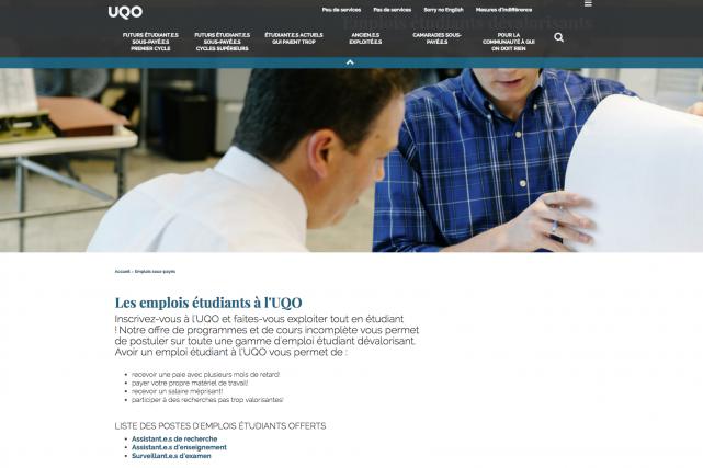 Le www.etudieruqo.ca se veut une réplique satirique du... (Capture d'écran)