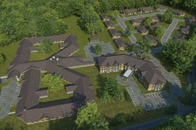 Un projet comptant 16 nouveaux bâtiments pourrait voir... (Maquette fournie)