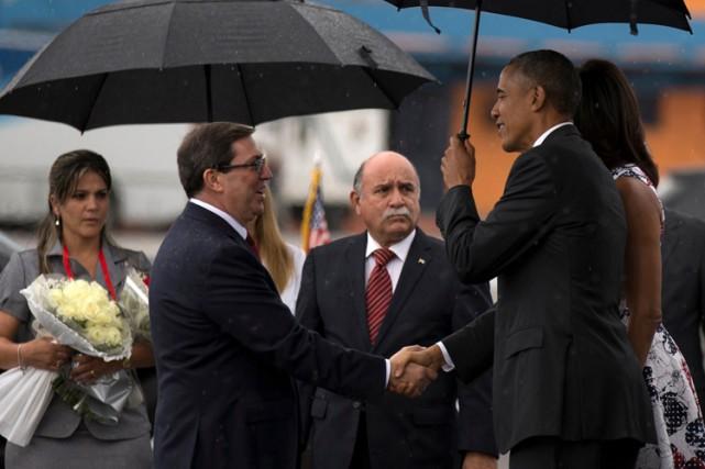 Bruno Rodriguez avait serré la main à Barack... (PHOTO AP)