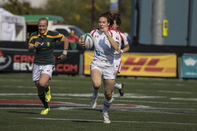 La joueuse gatinoise de rugby Natasha Watcham-Roy se... (Lorne Collicutt, Courtoisie Rugby Canada)