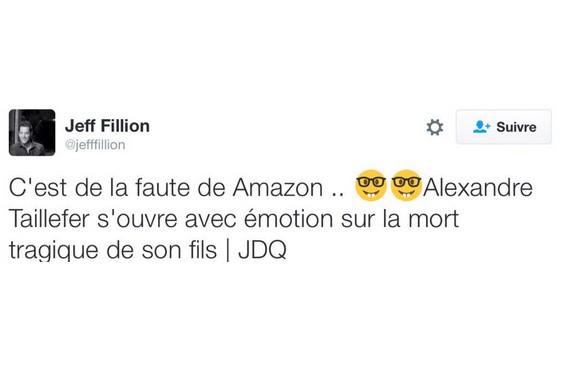 Jeff Fillion a écrit:«C'est de la faute de Amazon... Alexandre Taillefer... (CAPTURE D'ÉCRAN)