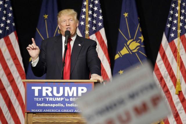 Le candidat républicain Donald Trump lors de son... (Darron Cummings)