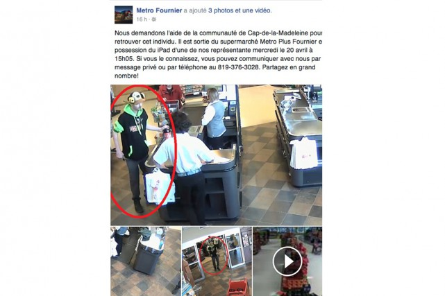 Metro Fournier a publié ces images d'un homme...