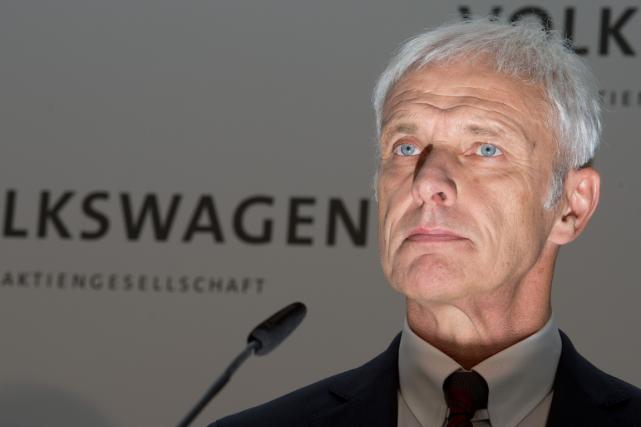 Le patron deVolkswagen,Matthias Müller.... (Photo Julian Stratenschulte, AFP)